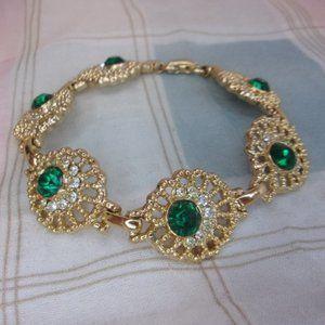 Sarah Coventry Emerald Lace Bracelet 1950s